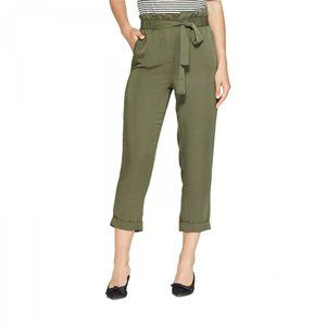 NWT Who What Wear Relaxed Crop Pants Medium Olive